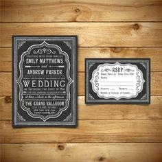 Printable Chalkboard Wedding Invitation & RSVP by birDIYdesign