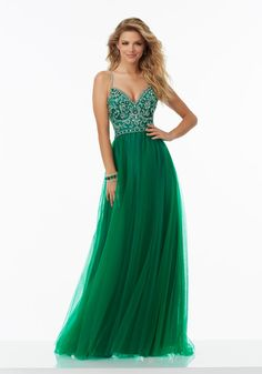 Beaded Soft Tulle Prom Dress with Deep-V Neckline and Beaded Strap Back Detail. Zipper Back Closure. Colors Available: Blush, Emerald, Navy