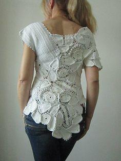 White Crochet Blouse Irish Crochet Blouse Freeform by MARTINELI,etsy