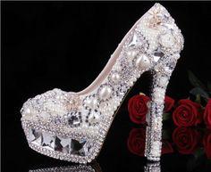 Dream Luxury Pearl wedding shoes Waterproof shoes Rhinestone Shoes Slipper Bridal shoes wedding shoes High-heeled shoes