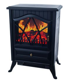 Take a look at this Warm House Black Retro Floor Standing Electric Fireplace by Trademark Global on #zulily today!