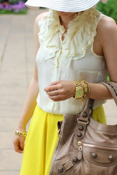 J.Crew top, ASOS Yellow Skater Skirt, Balenciaga City, Lauren Elan ID Bracelet Arm Candies, Skater Skirts, Fashion And Beauty Tips, My Wardrobe, Michael Kors Watch, Balenciaga, Beauty Hacks, Personal Style, Asos