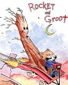 Rocket and Groot - Calvin & Hobbes style #guardiansofthegalaxy