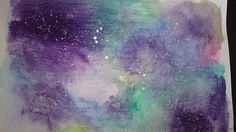 galaxy effect with water colours and inks, inspired by a blog called the postman's knock