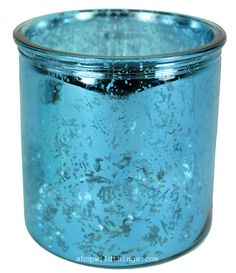 "Mercury Glass Candle Holders - Round ""Merilee""- Set of 6 - 3.75"" Wide x 4"" Tall - Turquoise $13.99"