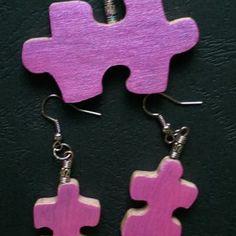 Kézzel készített egyedi puzzle medál, fülbevaló szett.