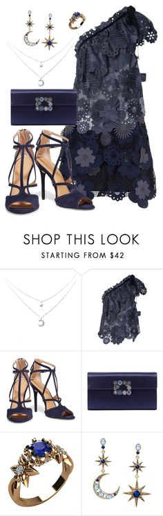 """""""Untitled #802"""" by victoriaam99 on Polyvore featuring self-portrait, Halston Heritage, Roger Vivier and Betsey Johnson"""