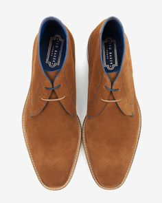 Suede derby chukka boots - Tan | Shoes | Ted Baker