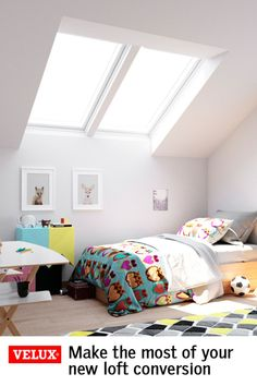 Make the most of your new loft conversion and bring in twice the daylight with VELUX roof windows. Loft Playroom, Loft Room, Bedroom Loft, Bedroom Decor, Bedroom Ideas, Loft Conversion Velux, Loft Conversions, Small Room Bedroom, Master Bedrooms