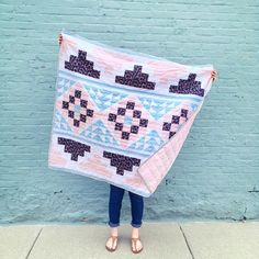 I love this pink and navy Mayan Mosaic baby quilt! http://suzyquilts.com/shop/mayan-mosaic-quilt-pattern-download/