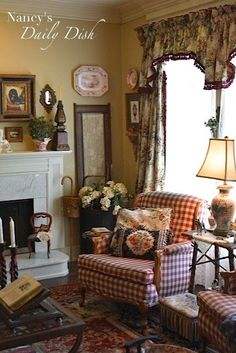 Nancy's Daily Dish: English Cottage Living Room - Before, Partly After & Still a. - Nancy's Daily Dish: English Cottage Living Room - Before, Partly After & Still a Work in Progress English Cottage Style, French Country Living Room, French Country Cottage, French Country Decorating, English Cottages, English Cottage Interiors, English Cottage Decorating, English Country Style, English Living Rooms