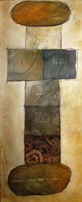 #Hüpfspiel/ #himmelundhölle 1, #Aquarell auf Holz mit #Collage, ca. 40 x 110 cm, #braun