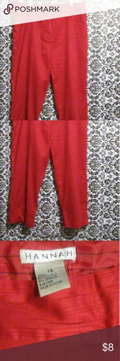Cute and Comfy Red Capris These cute and comfy red capris are a must have! These little cuties can compliment the right top. Add the perfect shoe, and accessory, and you are ready to make fashion waves. Hannah  Pants Capris