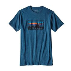 Patagonia Mens Logo Short Sleeve T-Shirt in Big Sur Blue 39061-BSBR