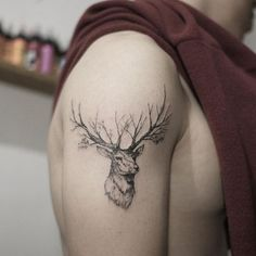 deer trees tattoo idea