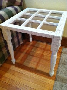 Inspiration for my end tables. Want to build a very simple frame I can attach refurbished windows from the barn I grew up with. My plan is red with black bases.