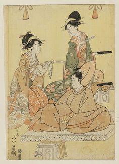 Chokosai Eisho . Title:A Parody of the Adulthood Ceremony of Lord Narihira (Narihira ason hatsu kanmuri yatsushi). Date:1796-98