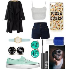 Untitled #224 by fashiongirlxcx on Polyvore featuring polyvore fashion style Vans Kate Spade Topshop NARS Cosmetics Essie