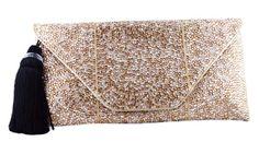 Lea Black Handbags Small Champagne Clutch
