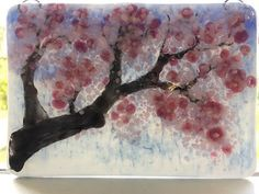 Delicate cherry blossoms in transparent and opaque shades of pink bloom on a painted branch. Cherry Blossom Season, Sakura Cherry Blossom, Asian Flowers, Pink Painting, Crushed Glass, Blossom Trees, Fused Glass Art, Handmade Ornaments, Bloom