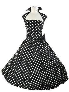 Vintage Turn-Down Collar Sleeveless Polka Dot Bowknot Embellished Women's Dress