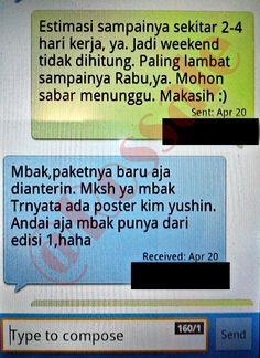 SMS dari pembeli bahwa paket sudah sampai ke tangannya.