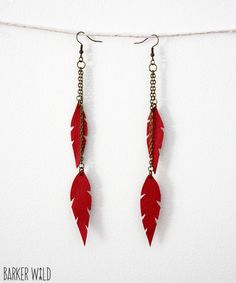 Tribal Red leather feather earrings