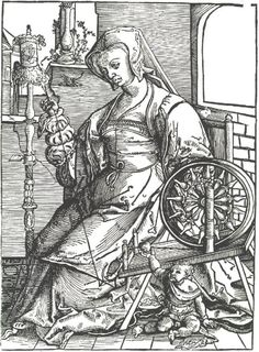 Young woman spinning. Lucas van Leyden c 1513. Dutch. Hand cranked Picardy spinning wheel.