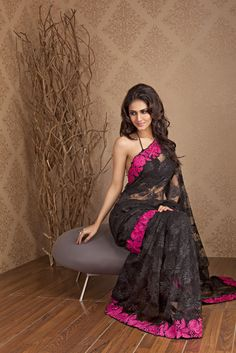 Black Lace Saree with contrast border by Meena Bazaar http://www.meenabazaar.in/mbuser/ $286