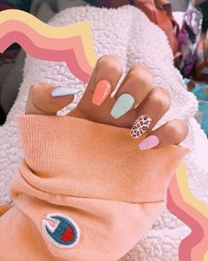 Acrylic Nails Coffin Short, Simple Acrylic Nails, Best Acrylic Nails, Colourful Acrylic Nails, Colored Acrylic Nails, Square Acrylic Nails, Coffin Nails, Nagellack Design, Nagellack Trends