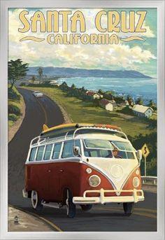 Santa Cruz, California - VW Van - Lantern Press Artwork (24x36 Giclee Art Print, Gallery Framed, Silver Wood), Multi