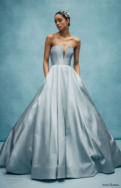 """Today we have the absolutely regal Spring collection from Anne Barge. The Anne Barge philosophy is simple, """"Good design is timeless. Anne Barge Wedding Dresses, Blue Wedding Dresses, Wedding Dress Trends, Bridal Dresses, Gown Wedding, Wedding Hair, Designer Gowns, Designer Wedding Dresses, Dress Vestidos"""