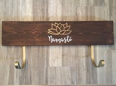 Yoga mat holder, yoga gift, Namaste, yoga rack, rustic, distressed, wood sign, gold metallic, lotus flower, yoga mat storage, personalized