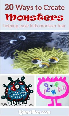20 ways to create monsters to ease kids monster fears - fun craft activity ideas for kids of all ages. It is also a great way to help kids to ease monster fear. Although these are  sure hits for Halloween season, they are fun indoor activities for anytime of the year.