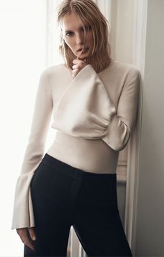 Waverley Flared-Sleeve Sweater @bcbg.com