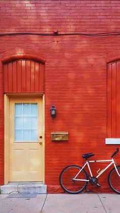 Red Wall White Bicycle iPhone 6 / 6 Plus wallpaper