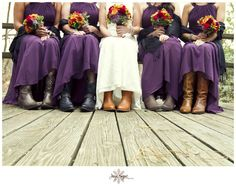Bridal Party in Cowboy Boots for a Fall Wedding