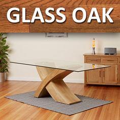 Glass Top w/ Oak Cross Base Dining Table Room Furniture 200cm