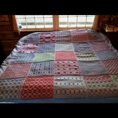 Assembled coverlet project--handwoven sampler coverlet collaborative project by Cabool Weavers Study Group.