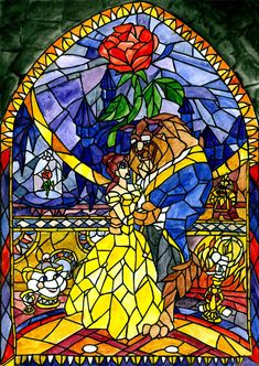 Beauty and the Beast Stained Glass Portrait Diamond Painting Kit Disney Stained Glass, Stained Glass Christmas, Stained Glass Designs, Stained Glass Art, Glass Wall Art, Sea Glass Art, Window Glass, Disney Kunst, Disney Art