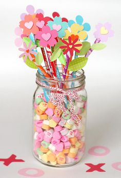 Valentine's Day Party / Valentines Day | Fiskars -  Pixy Stix bouquet  how cute for a teachers desk