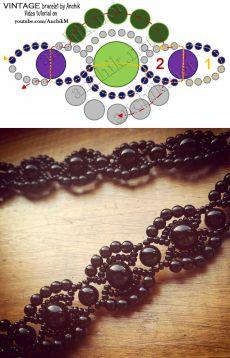 Винтажный браслет из бисера и бусин своими руками / Браслеты, Видеоуроки / Biserok.org