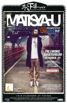 Concert poster for Matisyahu at The Fillmore in Denver, CO in 2009. 11 x 17 on card stock.