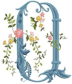 alfabeto celeste con flores Q