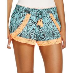 Surf Gypsy Neon-Embroidered Swim Cover Up Shorts ($65) ❤ liked on Polyvore featuring shorts, turquoise, pocket shorts, boho shorts, turquoise shorts, embroidered shorts and print shorts