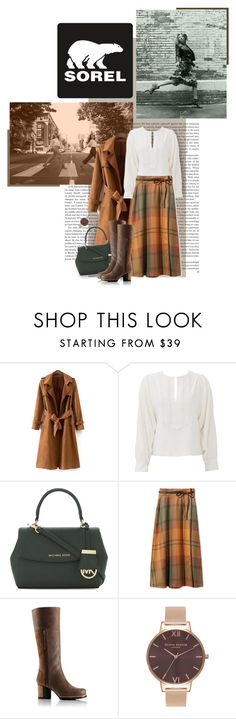 """""""Kick Up the Leaves (Stylishly) With SOREL: CONTEST ENTRY"""" by luckyiminlove ❤ liked on Polyvore featuring SOREL, See by Chloé, MICHAEL Michael Kors, L.L.Bean, Olivia Burton and sorelstyle"""