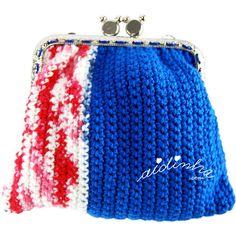 Bolsa, em crochet, azul forte e mesclad
