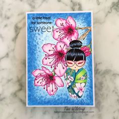 Almond Blossom, Kokeshi Dolls, Digi Stamps, Copic, Hello Everyone, All Design, Oriental, Cards, Blog