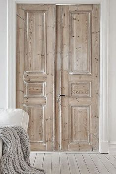 French white washed pale wood doors
