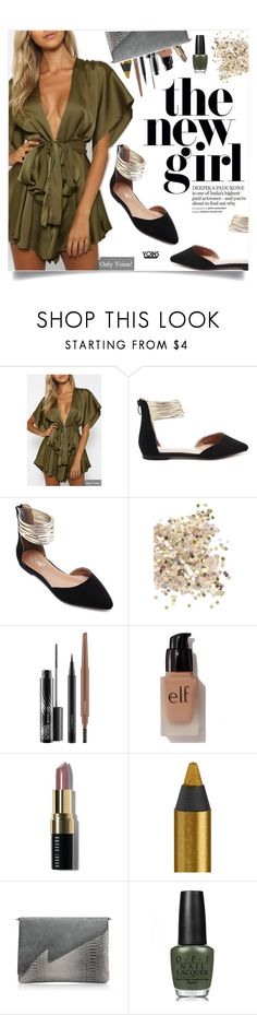 """Yoins: Army Green Playsuit"" by yoinscollection ❤ liked on Polyvore featuring Topshop, MAC Cosmetics, e.l.f., Bobbi Brown Cosmetics, Urban Decay, OPI and vintage"